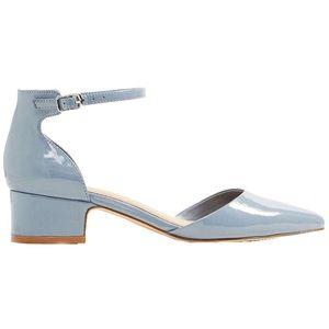 """ALDO """"Zusien"""" Patent Blue Block Heel Sandals"""